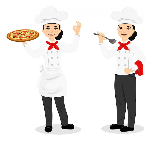 Köchin charater mit pizza und essen Premium Vektoren