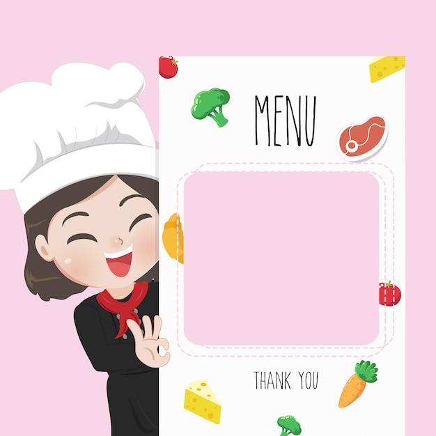 Köchin empfiehlt speisekarte, Premium Vektoren
