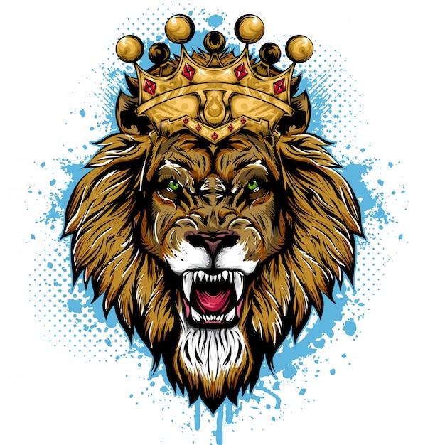 König der löwen tiergesicht Premium Vektoren