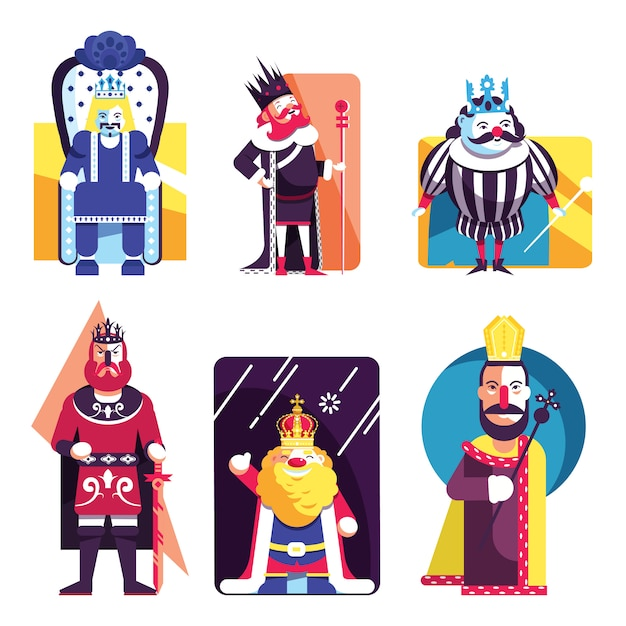 König icons collection colored cartoon template vector Premium Vektoren