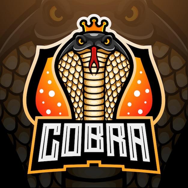 König kobra esport logo maskottchen design Premium Vektoren