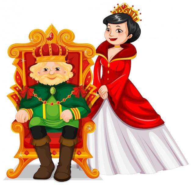 König und königin am thron Kostenlosen Vektoren