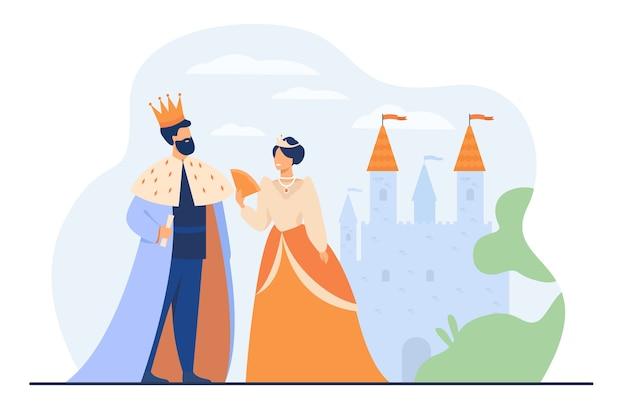 König und königin, die vor der flachen vektorillustration der burg stehen. karikaturmonarchen als symbol der königlichen führung. konzept der regierungsbehörde, der monarchie und der aristokratie Kostenlosen Vektoren