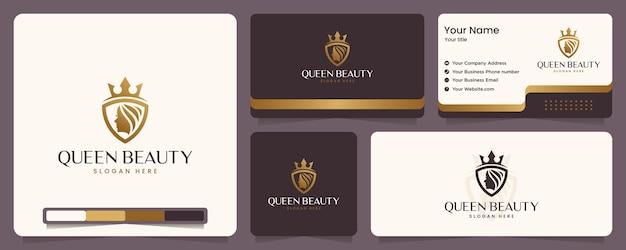 Königin schönheit, frauengesicht, luxus, krone, goldfarbe, banner und visitenkarte, logo design inspiration Premium Vektoren