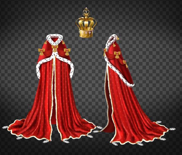 Königinnen oder prinzen königliche robe mit rotem umhang und mantel aus hermelinpelz Kostenlosen Vektoren