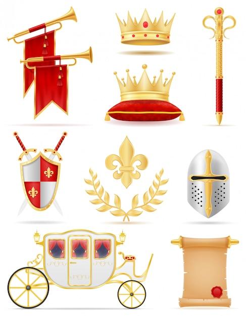 Königliche goldene attribute königs der mittelalterlichen energievektorillustration Premium Vektoren