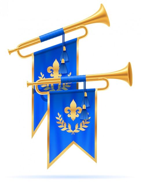 Königliche goldene horntrompete. Premium Vektoren