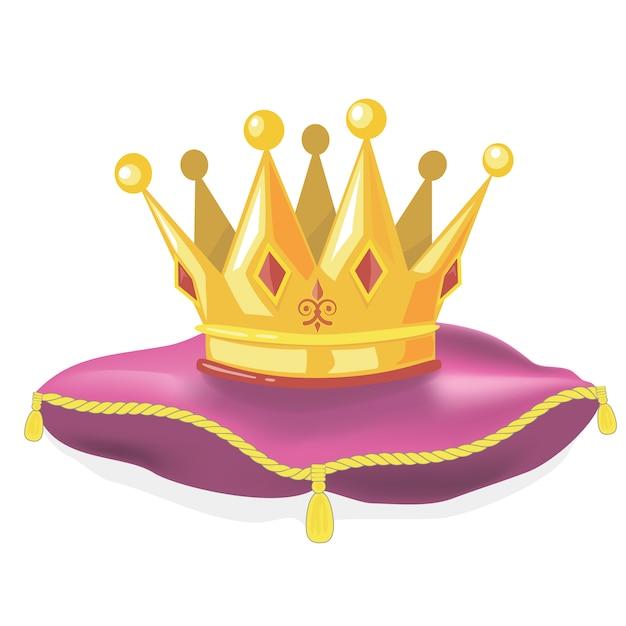 Königliche goldkrone auf dem kissen Premium Vektoren
