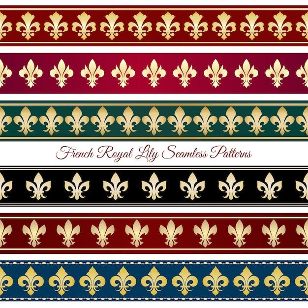 Königliche nahtlose randmuster. viktorianisches vintages dekor, blumen retro retro vektor-illustration Kostenlosen Vektoren