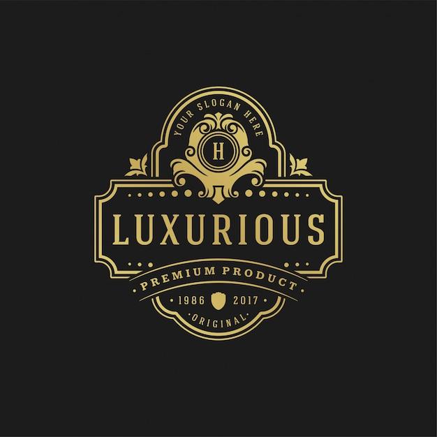 Königliche verzierungsformen der luxuslogodesignschablonenvektorillustrations-victorianvignetten für firmenzeichen oder aufkleberdesign. Premium Vektoren