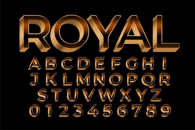 Königlicher goldener premium-texteffekt im 3d-stil Kostenlosen Vektoren