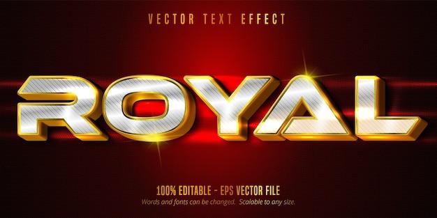 Königlicher text, luxuriöser bearbeitbarer texteffekt von gold und silber auf strukturiertem hintergrund Premium Vektoren