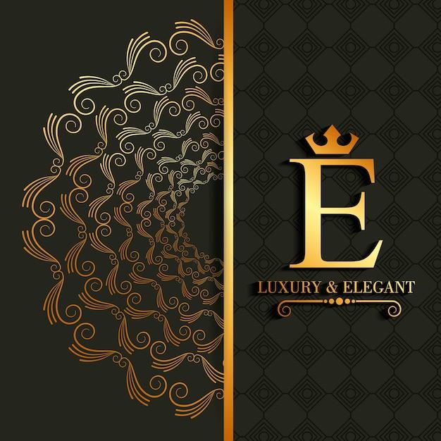 Königliches bild der luxus- und eleganten e-buchstabenrolle Premium Vektoren