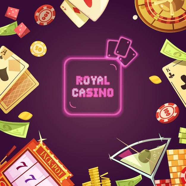 Königliches kasino mit spielautomatillustration Kostenlosen Vektoren