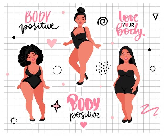 Körper positiv, feminismus aufkleber sammlung. lieben sie ihren körper aktivisten slogan, frau motivationssatz Premium Vektoren