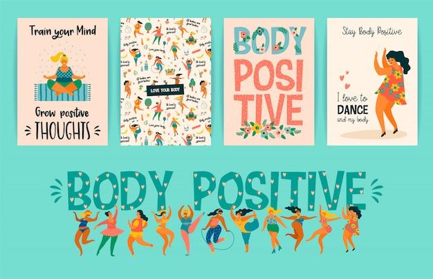 Körper positiv. happy plus size girls und aktiver gesunder lebensstil. Premium Vektoren