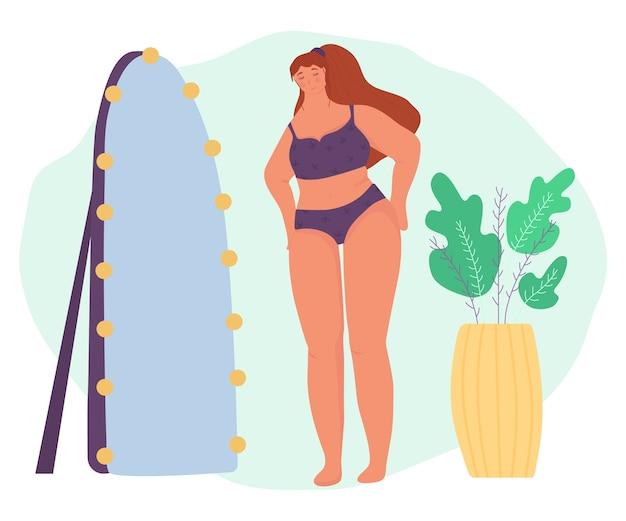 Körper positiv. selbstliebe. ein mädchen bewundert sich im spiegel. niedlich Premium Vektoren