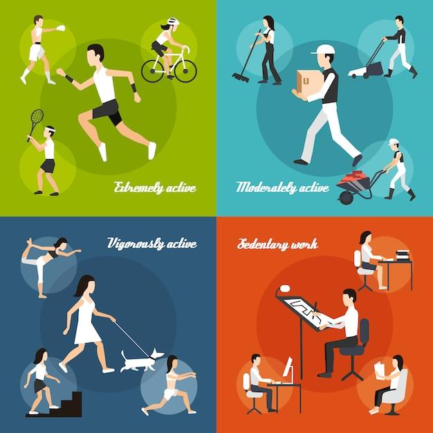 Körperliche aktivität eingestellt Kostenlosen Vektoren