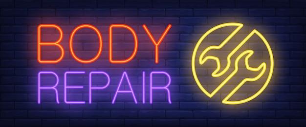 Körperreparatur unterzeichnen herein neonart Kostenlosen Vektoren