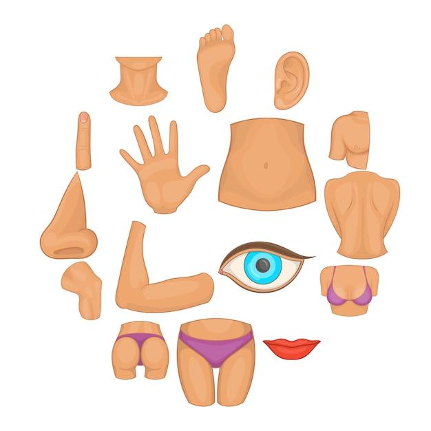 Körperteile-icon-set, cartoon-stil Premium Vektoren