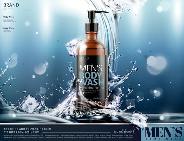 Körperwaschwerbung der männer mit spritzwasser und eiswürfeln auf glitzerndem hintergrund Premium Vektoren