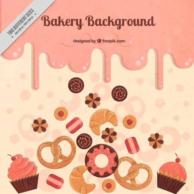 Köstliche bäckerei hintergrund Kostenlosen Vektoren