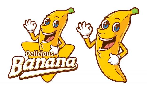 Köstliche bananenlogoschablone mit lustiger zeichentrickfilm-figur Premium Vektoren