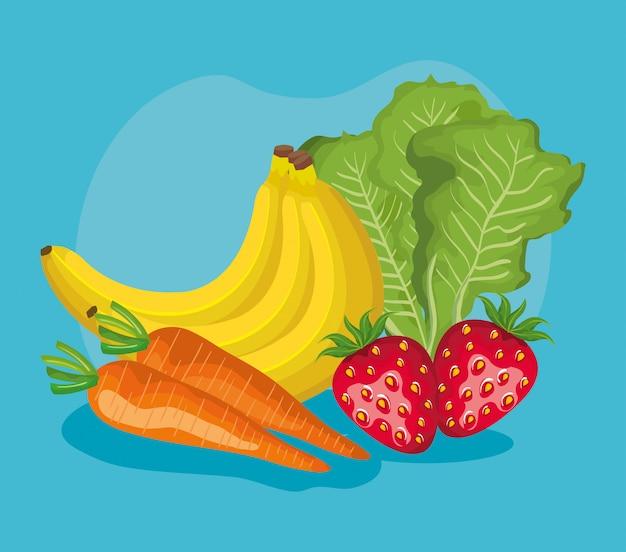 Köstliche fruchtnahrung und gesundes gemüse Premium Vektoren