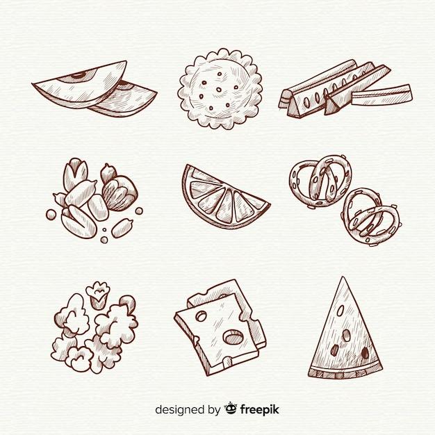 Köstliche hand gezeichnete snack-sammlung Kostenlosen Vektoren