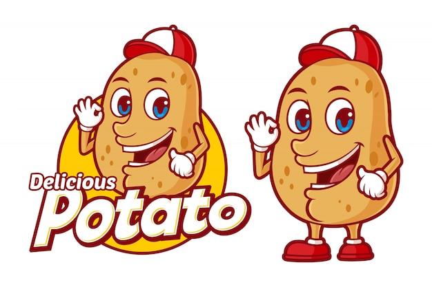 Köstliche kartoffellogoschablone, mit lustiger zeichentrickfilm-figur Premium Vektoren