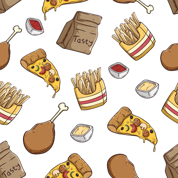 Köstliche pizzascheibe pommes-frites und hühnerbein im nahtlosen muster Premium Vektoren