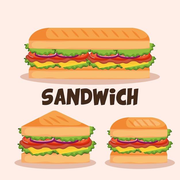 Köstliche sandwich-fast-food-set icons Premium Vektoren