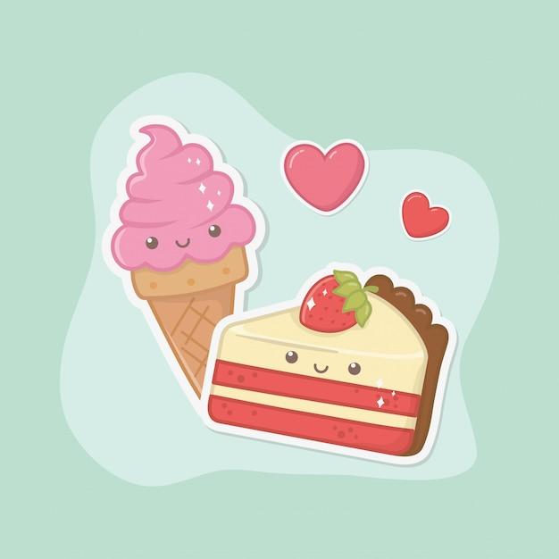 Köstliche und süße eiscreme und kawaii charaktere der produkte Kostenlosen Vektoren