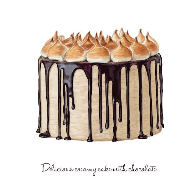 Köstlicher cremiger kuchen mit schokolade Premium Vektoren