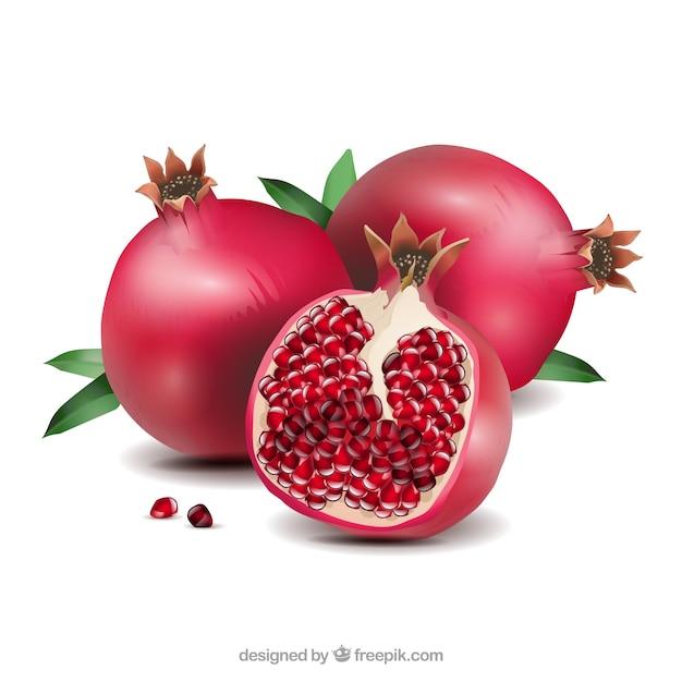 Köstlicher granatapfel im realistischen stil Kostenlosen Vektoren
