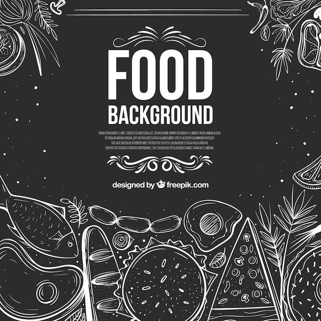Köstlicher lebensmittelhintergrund mit hand gezeichneter art Kostenlosen Vektoren