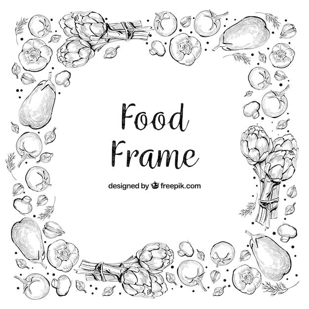 Köstlicher nahrungsmittelrahmen mit hand gezeichneter art Kostenlosen Vektoren