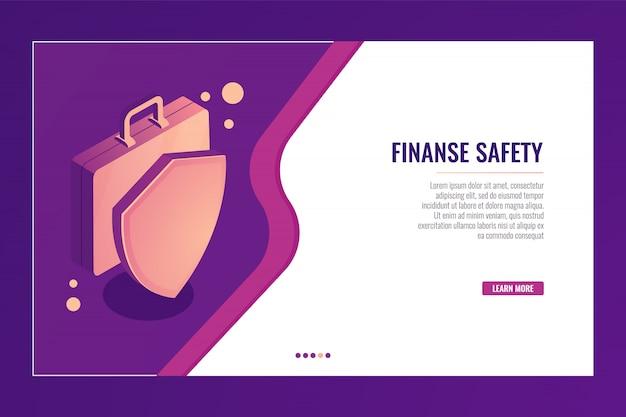 Koffer mit schild, geschäftsschutz und sicherheit, finanzversicherung Kostenlosen Vektoren