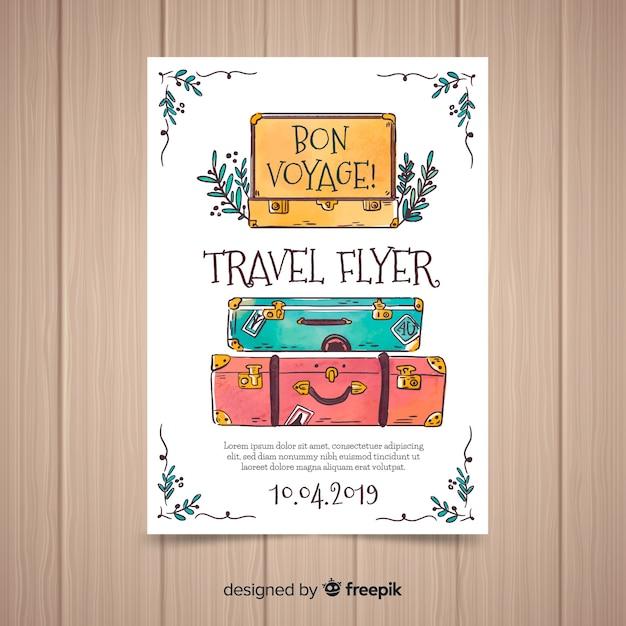 Koffer reisen flyer Kostenlosen Vektoren
