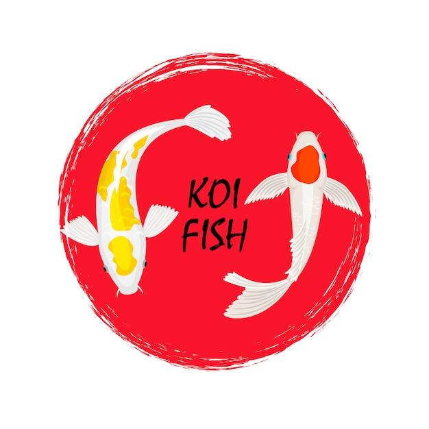 Koi fisch label design mit grunge-effekt Premium Vektoren