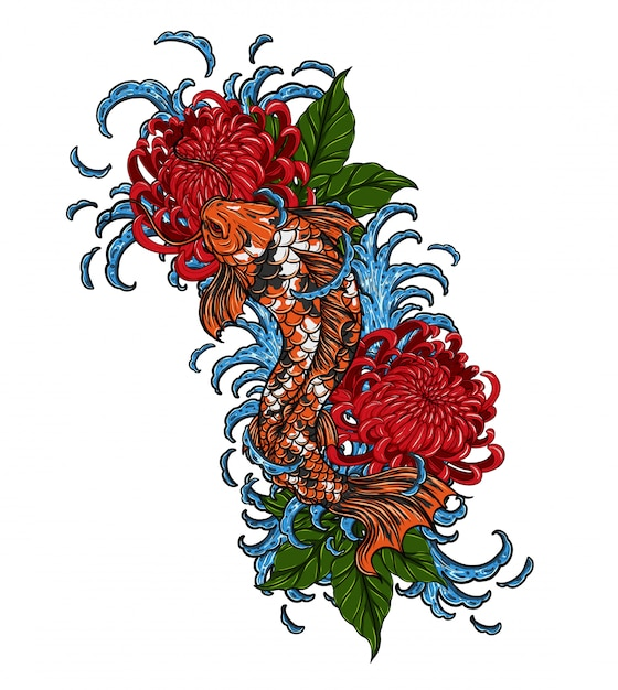 Koi-fische mit der chrysanthemenvektor-tätowierung, die eigenhändig zeichnet Premium Vektoren