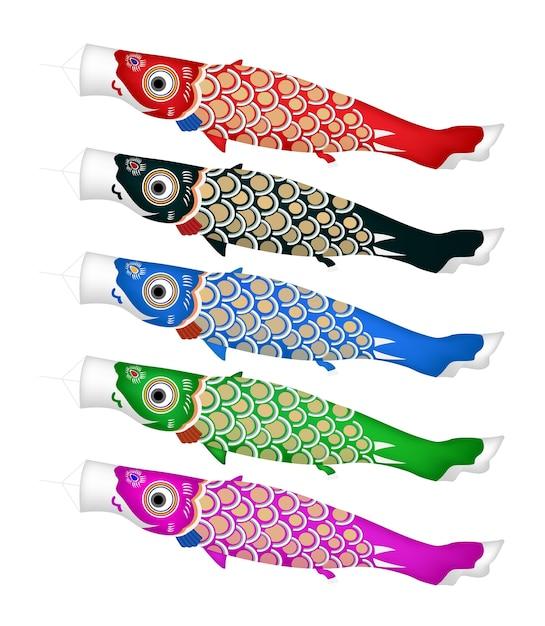 Koinobori japanischer fischdrachen auf einem weißen hintergrund Premium Vektoren