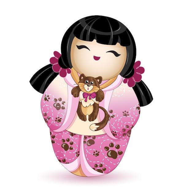 Kokeshi-puppe in einem rosa kimono mit einem kätzchen. Premium Vektoren