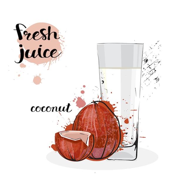 Kokosnuss-saft-frische hand gezeichnete aquarell-früchte und glas auf weißem hintergrund Premium Vektoren