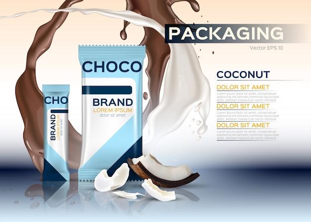 Kokosnuss schokolade verpackung Premium Vektoren