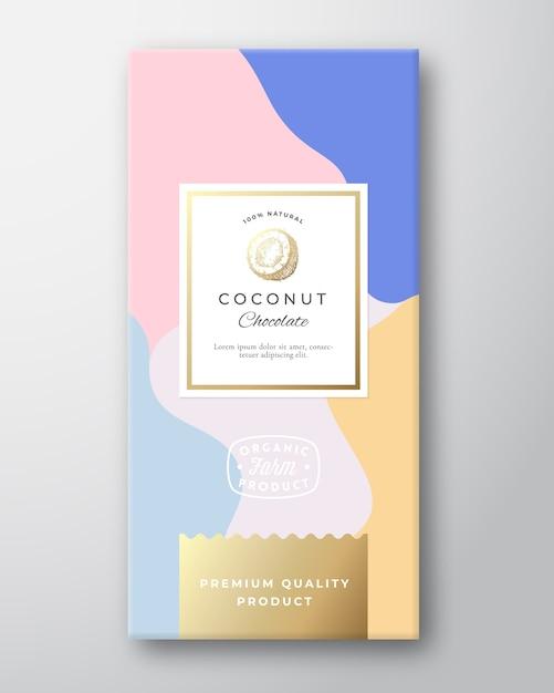 Kokosnuss-schokoladen-etikett. Kostenlosen Vektoren