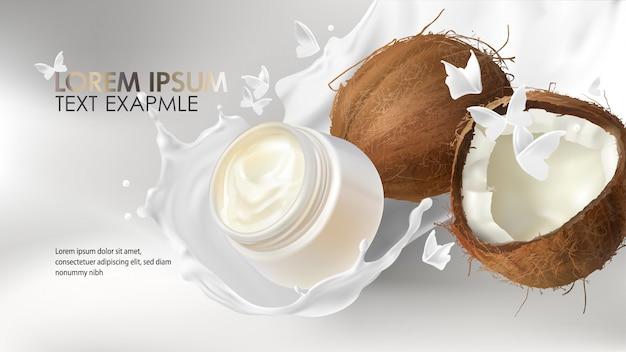 Kokosnussspritzen realistisch für sahnekosmetikwerbung Premium Vektoren