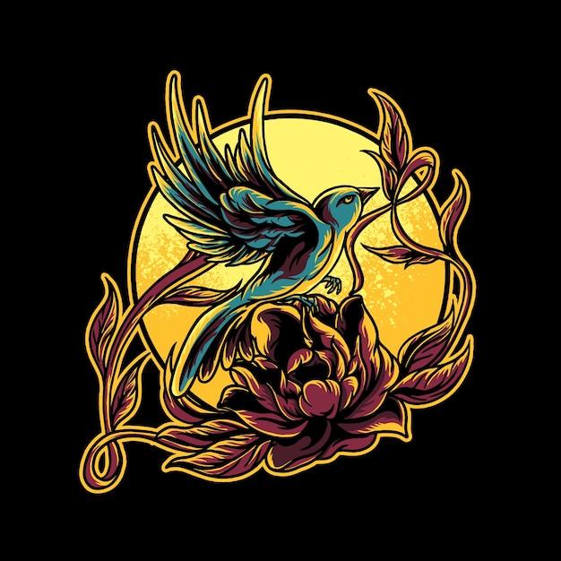 Kolibri und rosenillustration Premium Vektoren
