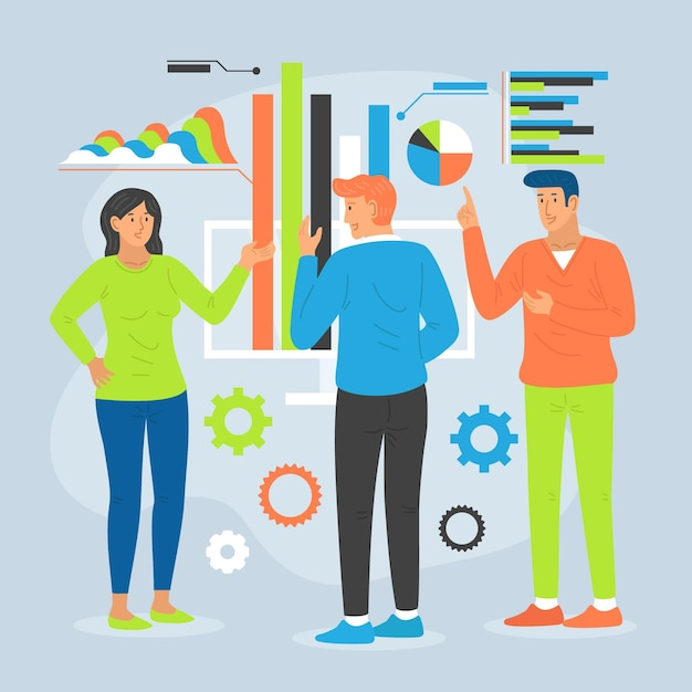 Kollegen analysieren wachstumscharts Kostenlosen Vektoren