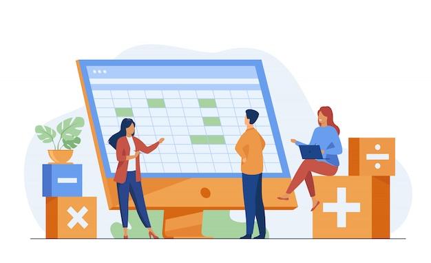 Kollegen diskutieren buchhaltungsstatistiken mit software Kostenlosen Vektoren